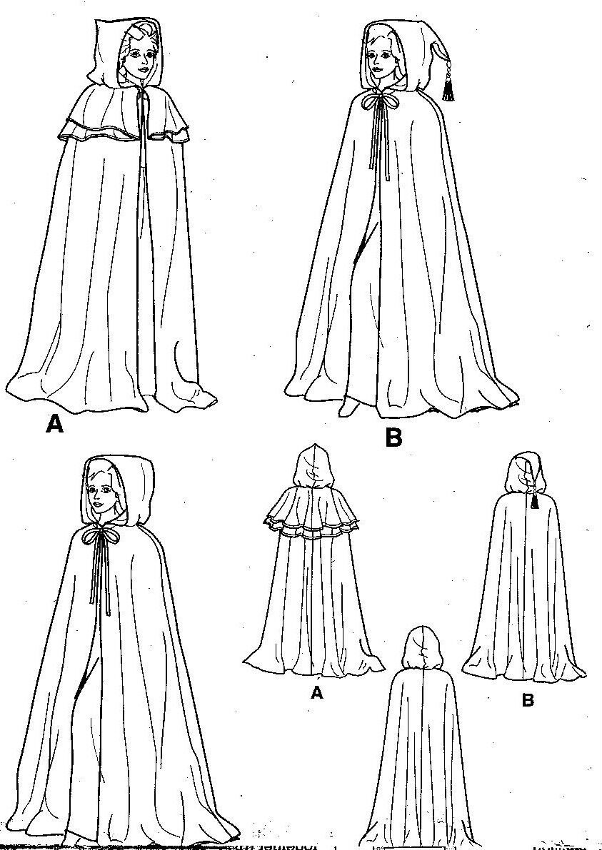 Pattern for hooded cape cloak sca renaissance costume simplicity sewing pattern for hooded cape cloak sca renaissance costume simplicity 5794 diy jeuxipadfo Choice Image