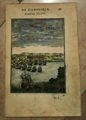 CALAO PERU 1683 ALAIN MANESSON MALLET ANTIQUE VIEW IN COLORS 17TH CENTURY