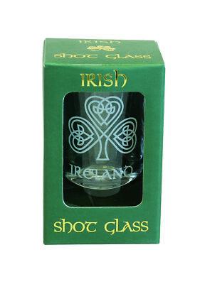 Shot Glass Single Shamrock Design Frosted etching Irish Gift