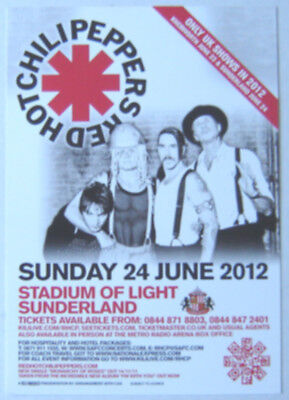 RED HOT CHILI PEPPERS : Sunderland 2012 -CONCERT FLYER- MINT
