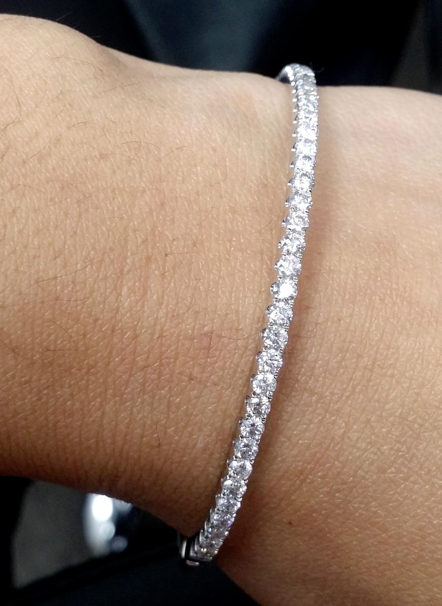 2.00 CT 100% Natural Genuine Diamonds Tennis Bangle Bracelet in 14K Gold