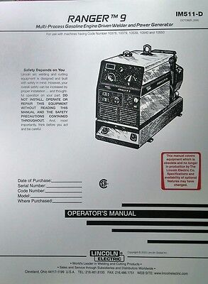 Lincoln Ranger 9 Welder Generator Onan P218 Gas Engine Operators Manual 42pg
