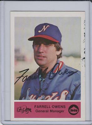 Minor Farrell Owens Autographed Card  Nashville Sounds   Pose 14