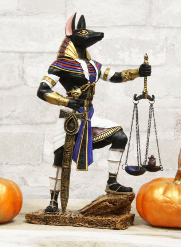 """Ebros God Anubis with Scales of Justice and Sword of Judgement Figurine 10"""" Tall"""