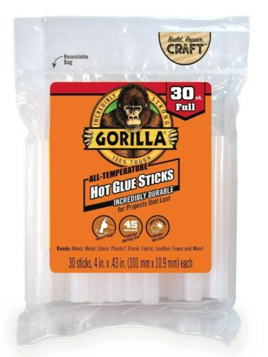 Gorilla All Temperature Hot Glue Sticks Full Size 30 Sticks With Resealable Bag