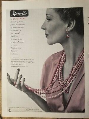 1949 Marvella Pink Mist beads necklace pearls vintage jewelry ad