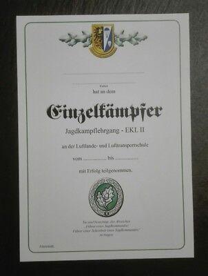 URKUNDE Einzelkämpfer Leistungslehrgang EK 2 Bundeswehr LL-Schule