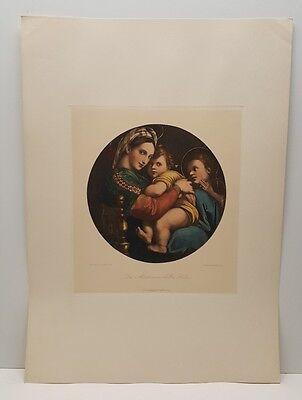 The Madonna in the Chair Raffaello Santi Vintage Lithograph Art Print