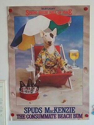 BUDWEISER Bud Light SPUDS MacKENZIE Original Party Animal Poster BEACH BUM
