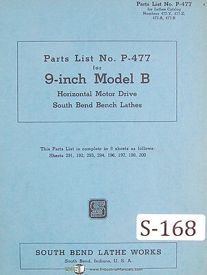 Southbend 9 B Horizontal Motor Drive Lathe Parts List P-477 Manual 1943