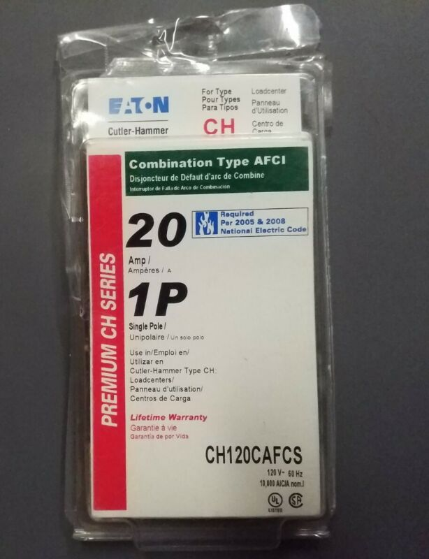NEW EATON 20 AMP 1P COMBINATION ARC FAULT CIRCUIT BREAKER AFCI CHF120CAFCS