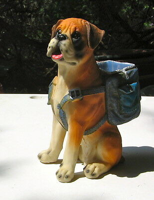 BOXER SITTING WITH A BACKPACK