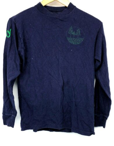 Anvil Vtg USA Made Mens Long Sleeve T Shirt Bend Oregon Blue Green Small Tee OR