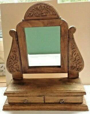 ANTIQUE CARVED WOODEN DRESSING TABLE STAND WITH MIRROR AND 2 DRAWERS