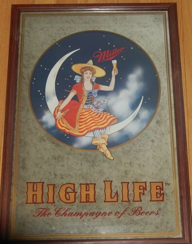 Miller High Life Mirror Beer Sign - Girl on the Moon