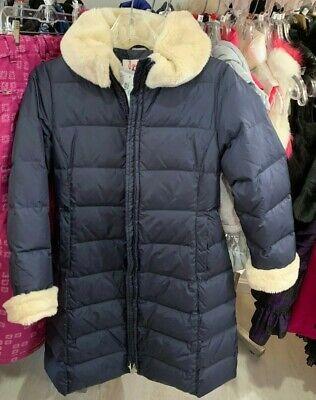 IL GUFO ITALIAN Girls Navy BLUE Down  Coat with FAUX FUR COLLAR RETAIL $780