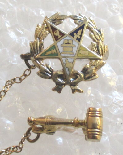 Antique 10K Gold Order of the Eastern Star Officer Pin w/ Gavel Guard -OES Mason