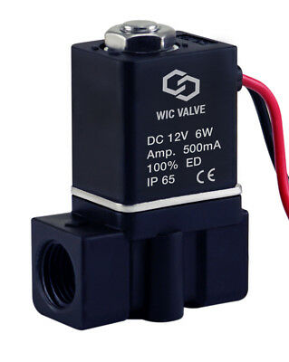 Plastic Fast Response Electric Air Gas Water Solenoid Valve 14 Inch 12v Dc