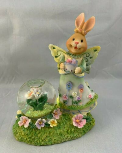 Easter Bunny Angel Butterfly Wings With Mini Snow Globe Eggs Flowers Figurine