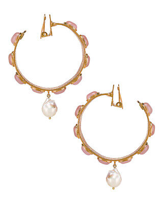 Christie Nicolaides $300 Carmen Hoops Gold Pearl Accents Clip On Earrings