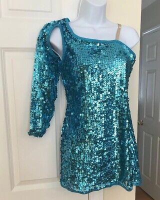CURTAIN CALL Costumes Jazz Society Blue Sequins One Shoulder Dance Dress (Sequined Dance)