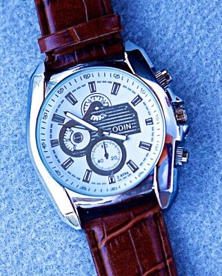 Face Brown Leather Band - Lot of 5 Brown-band Leather Watches w/ Silver Face - ODIN