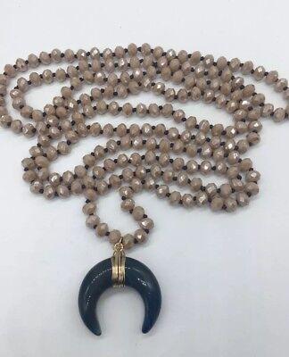 Fashion Long Knot Tribal Crystal w stone moon pendant Necklace Handmade Handmade Stone Pendant