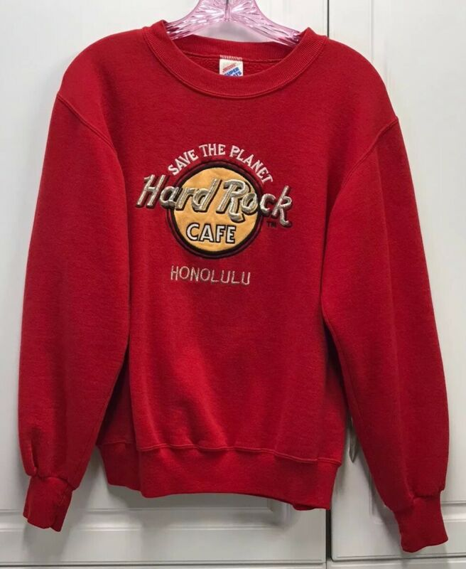 VTG HARD ROCK CAFE HONOLULU Save the Planet Red Sweatshirt Small S Hawaii