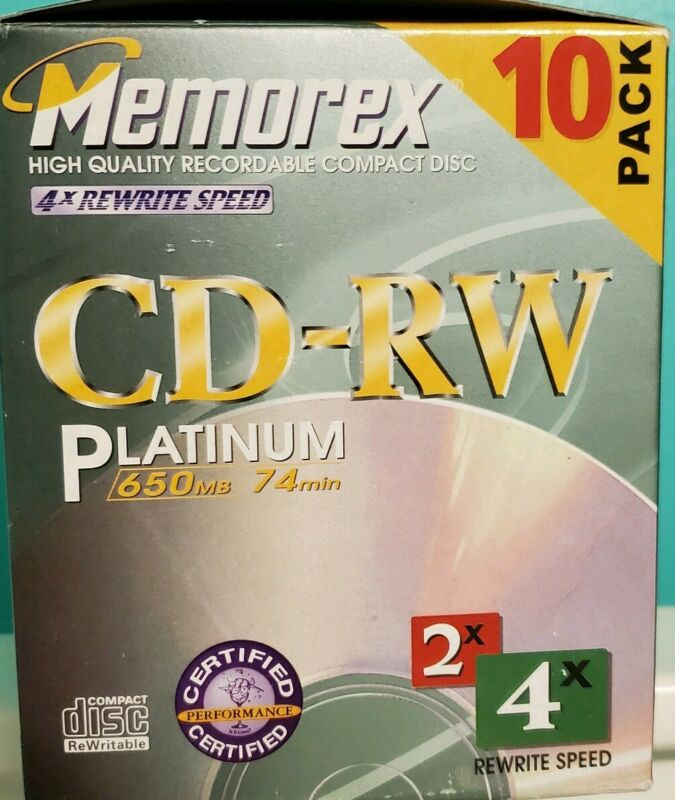 Memorex Blank CD-RW Music Recordable Printable Platinum 650 4× Rewrite Speed VTG