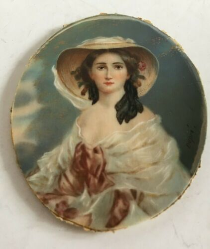 Miniature Painted Portrait in Oval Frame