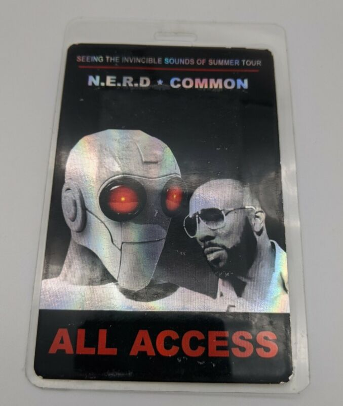 N.E.R.D COMMON Backstage Pass Concert Tour All Access Laminate Pharrell Williams