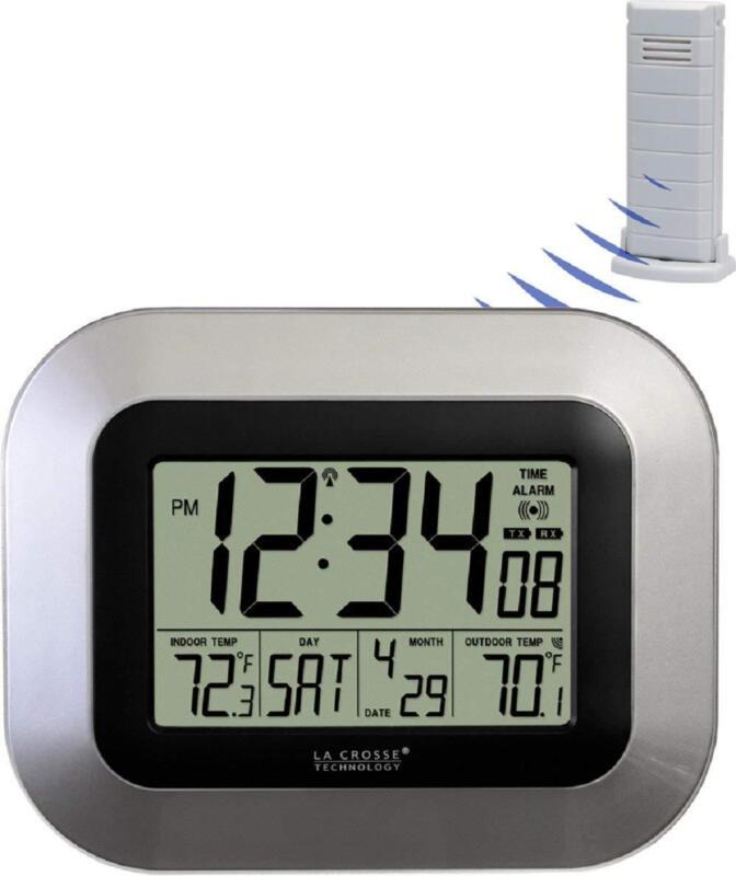 Atomic Digital Wall Clock Indoor/Outdoor Temperature Wireles