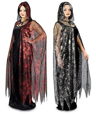 Kleid u. Umhang Spinnennetz 2-tlg  36 38 40 42 44 Kostüm Hexe Halloween