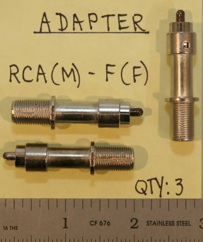 (3) RCA(Male) to F(Female) Adapters