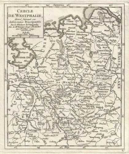 1749 Vaugondy Map of Westphalia, Germany