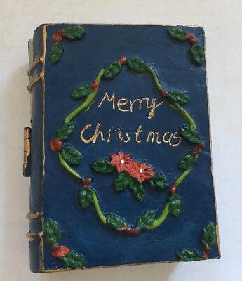 vintage  small porcelain ceramic Merry Christmas santa claus book blue - Blue Santa