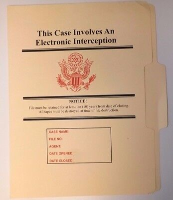 Electronic Interception Folder NRO DOD FBI DIA NSA CIA MI6 NSC NCIC DCI POLICE