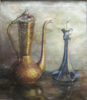 TURKISH COFFEE + CANDLE c. 1920s Case ARTIST SIGNED OIL ON CANVAS STILL LIFE