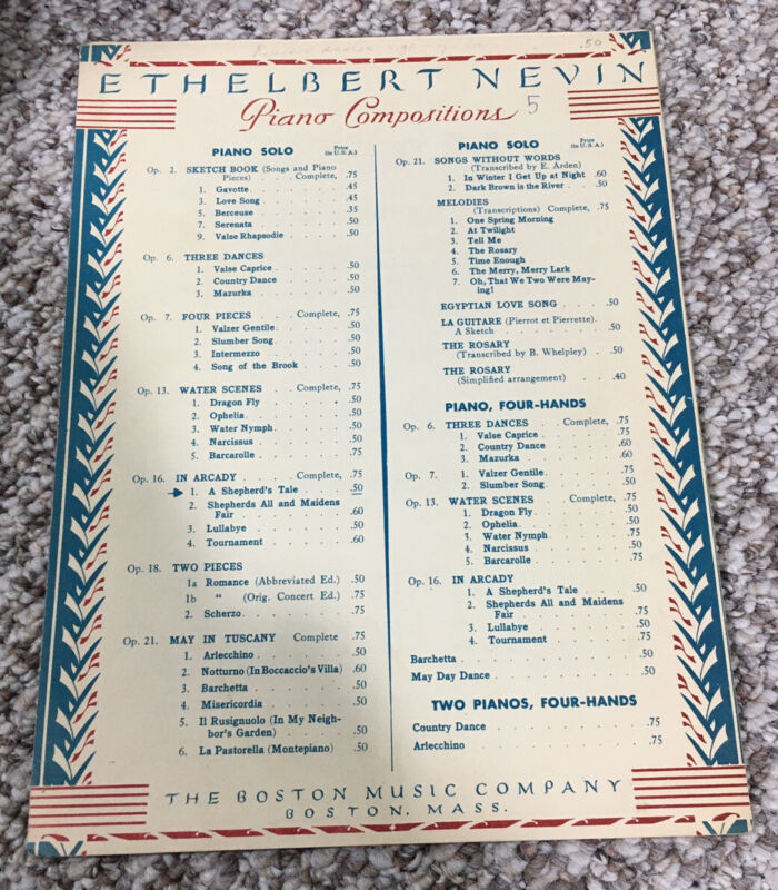 Ethelbert Nevin Piano Compositions Songs And Duets Sheet Music Vintage