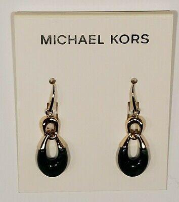 NWT MICHAEL KORS Gold-Tone and Jade look Dangle Teardrop earrings