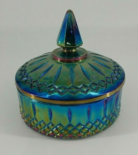 blue iridescent carnival glass candy dish with lid