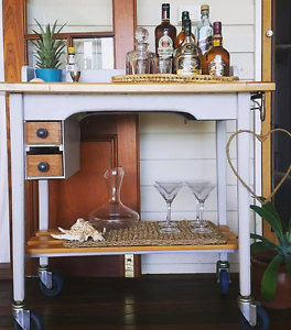 Wooden Bar Cart / Drinks or Kitchen Island Trolley Nudgee Beach Brisbane North East Preview