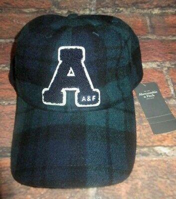 MENS ABERCROMBIE & FITCH PLAID GREEN BLUE ADJUSTABLE HAT CAP ONE SIZE