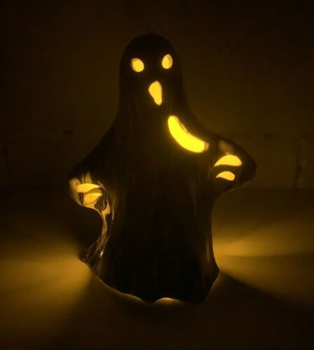 Small Dirty Pour Art Ceramic Ghost Decor Light Up With a Votive