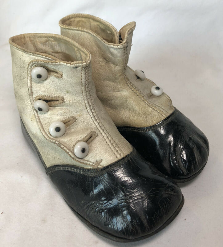 "Antique Victorian Leather Baby Child 4 Side Button Shoes Boots ""Foot Prints"""