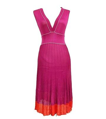 GUCCI VTG Purple Magenta Red Colorblock V Neck Sleeveless Viscose Knit Dress XS