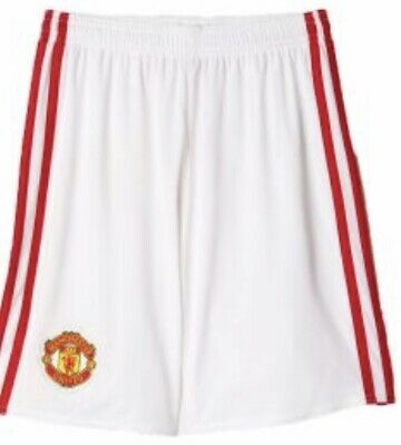 adidas Manchester United Kids Soccer Shorts Home White Red Youth Small MUFC - Adidas United Soccer Shorts