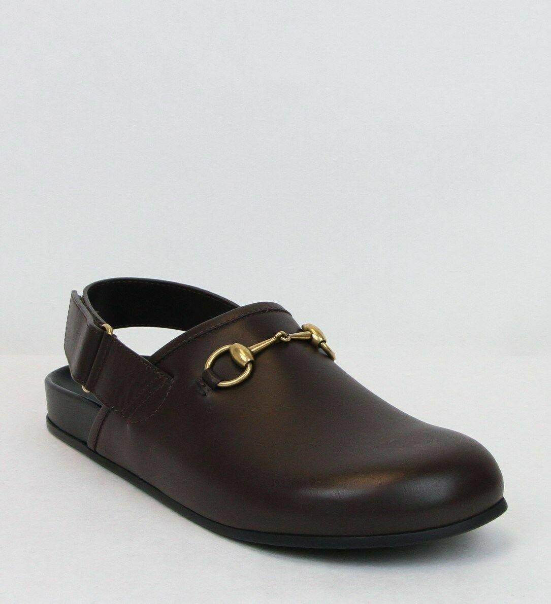 Gucci Men's Dark Brown Leather Classic Horsebit Calf Sandals 473491 2140