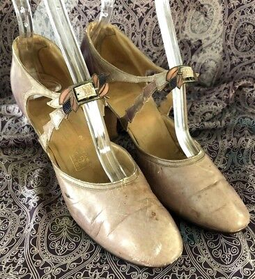 1920's Flappers Shoes 5½ Beige Violet & Copper Ombre Transitioning - 1920s Shoes Flapper