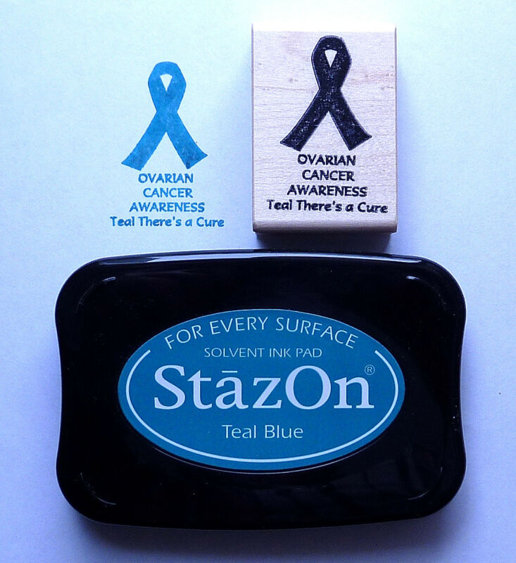 Ovarian Cancer Awareness Rubber Stamp Kit, Rubber Stamp and Teal Staz-On Pad